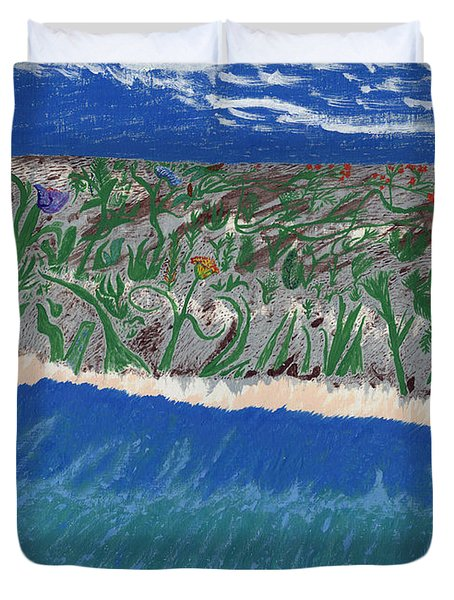 Duvet Cover featuring the painting Lost Island by Kim Pate
