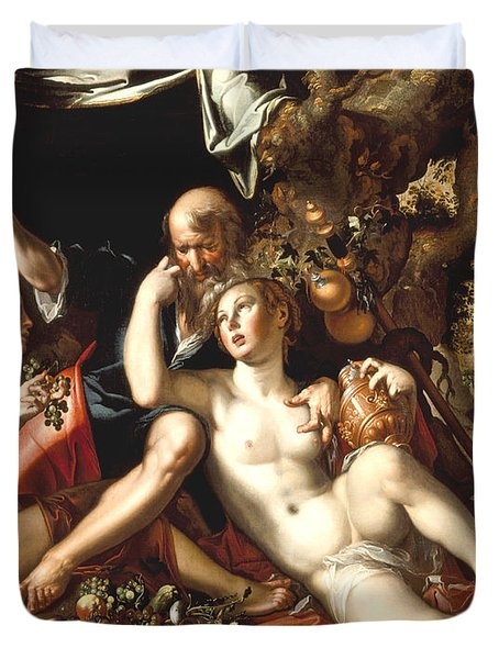 Lot And His Daughters Duvet Cover by Joachim Antonisz Wtewael