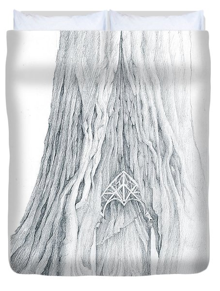 Lothlorien Mallorn Tree Duvet Cover by Curtiss Shaffer