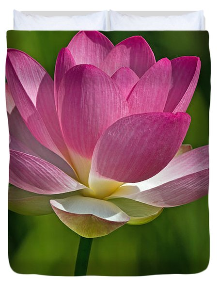 Duvet Cover featuring the photograph Lotus Bloom by Jerry Gammon