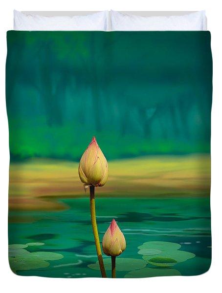 Lotus Buds Duvet Cover by Bedros Awak