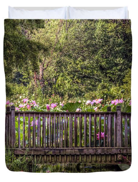 Duvet Cover featuring the photograph Lotus Garden Pond And Bridge by Jerry Gammon