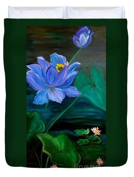 Lotus Duvet Cover by Jenny Lee