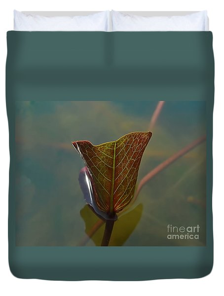 Duvet Cover featuring the photograph Lotus Leaf by Michelle Meenawong