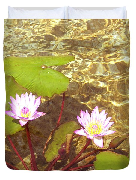 Duvet Cover featuring the photograph Lotus by Mini Arora