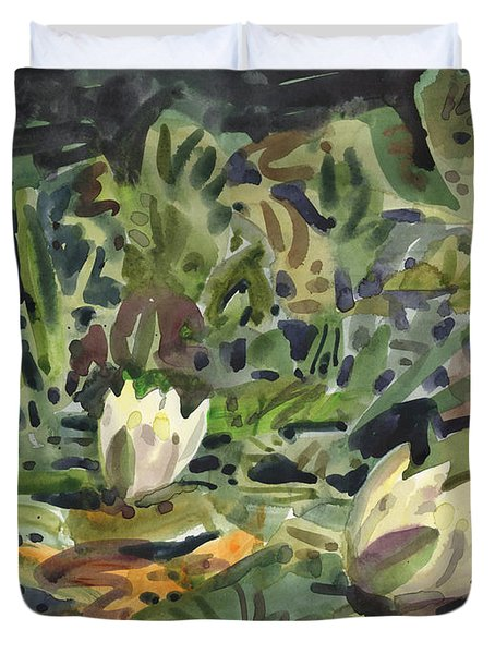 Duvet Cover featuring the painting Lotus Pond by Donald Maier