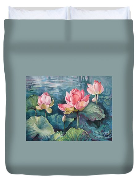Duvet Cover featuring the painting Lotus Pond by Elena Oleniuc