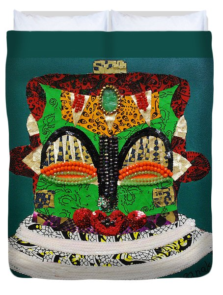 Duvet Cover featuring the tapestry - textile Lotus Warrior by Apanaki Temitayo M