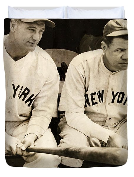 Lou Gehrig And Babe Ruth Duvet Cover by Bill Cannon
