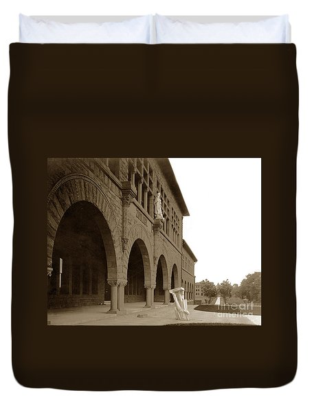 Louis Agassiz In The Concrete Most Famous Image Associated With Stanford University 1906 Earthquake Duvet Cover by California Views Mr Pat Hathaway Archives