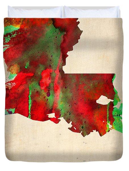 Louisiana Watercolor Map Duvet Cover by Naxart Studio
