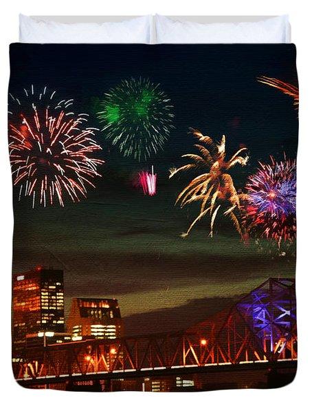 Louisville Kentucky Celebration Duvet Cover by Darren Fisher