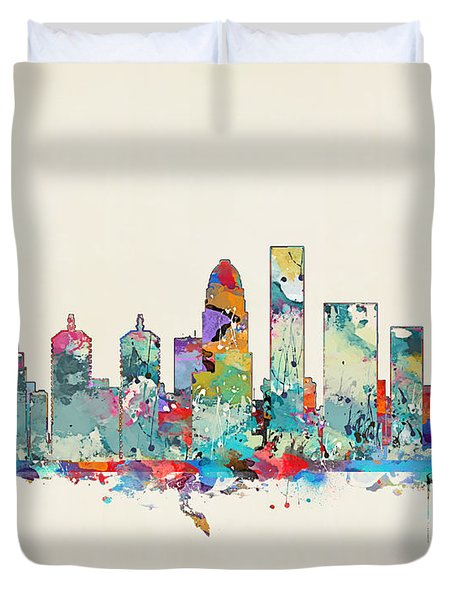 Louisville Kentucky Skyline Duvet Cover