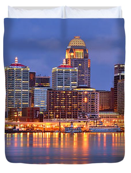 Louisville Skyline At Dusk Sunset Panorama Kentucky Duvet Cover