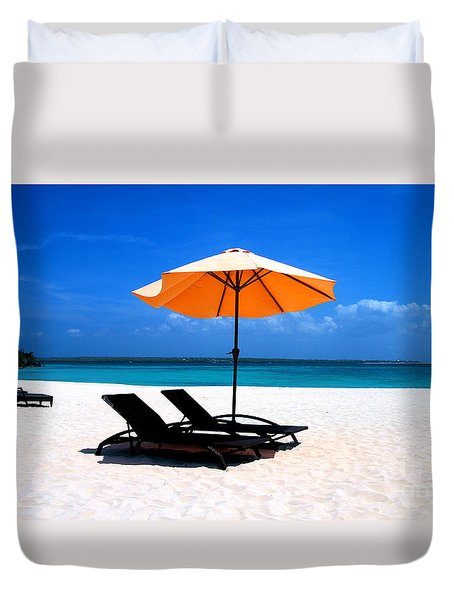 Duvet Cover featuring the photograph Lounging By The Sea by Joey Agbayani