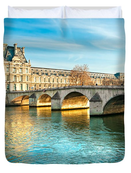 Louvre Museum And Pont Royal - Paris  Duvet Cover by Luciano Mortula