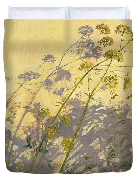 Lovage Clematis And Shadows Duvet Cover by Timothy  Easton