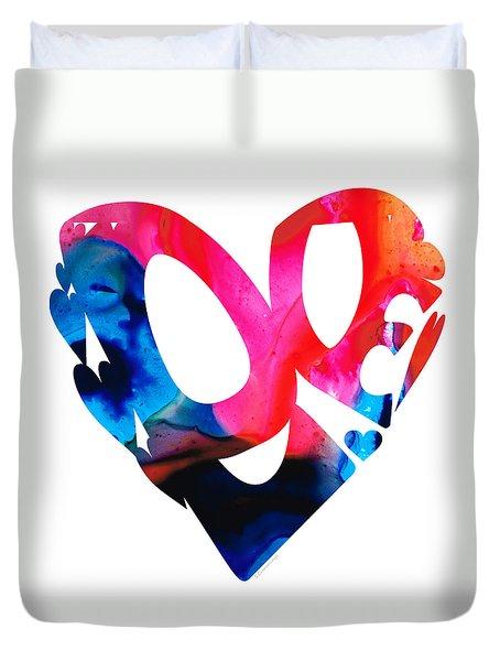Love 17- Heart Hearts Romantic Art Duvet Cover by Sharon Cummings