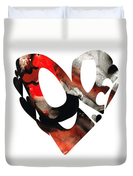Love 18- Heart Hearts Romantic Art Duvet Cover by Sharon Cummings