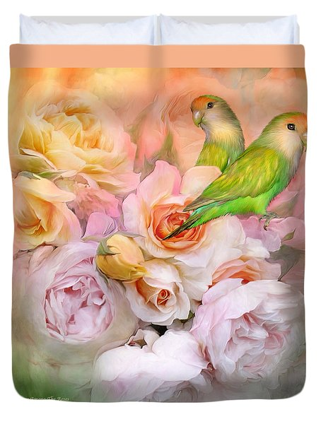 Duvet Cover featuring the mixed media Love Among The Roses by Carol Cavalaris
