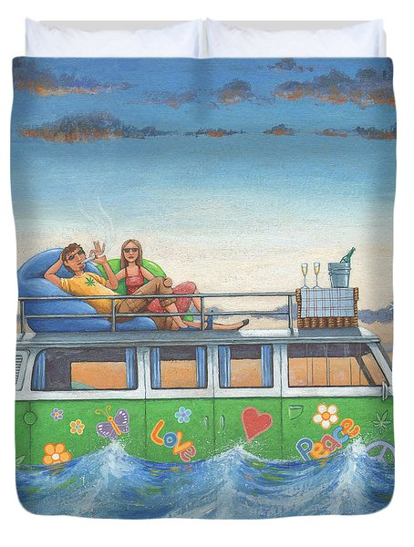 Love And Peace At Sea Duvet Cover
