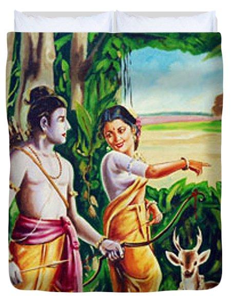 Duvet Cover featuring the painting Love And Valour- Ramayana- The Divine Saga by Ragunath Venkatraman