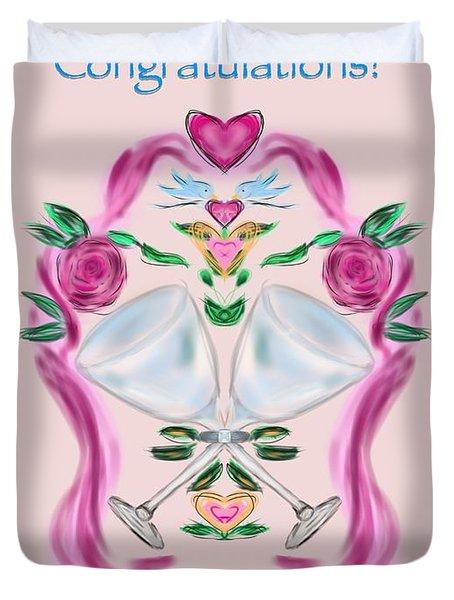 Duvet Cover featuring the digital art Love Birds Pink Wedding by Christine Fournier