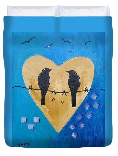 Duvet Cover featuring the painting Love Birds by Suzanne Theis