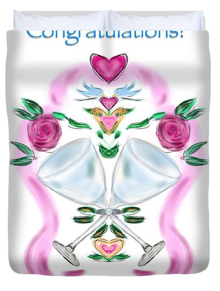 Duvet Cover featuring the digital art Love Birds White Wedding by Christine Fournier