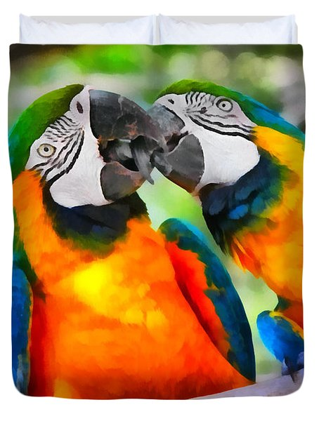 Love Bites - Parrots In Silver Springs Duvet Cover by Christine Till