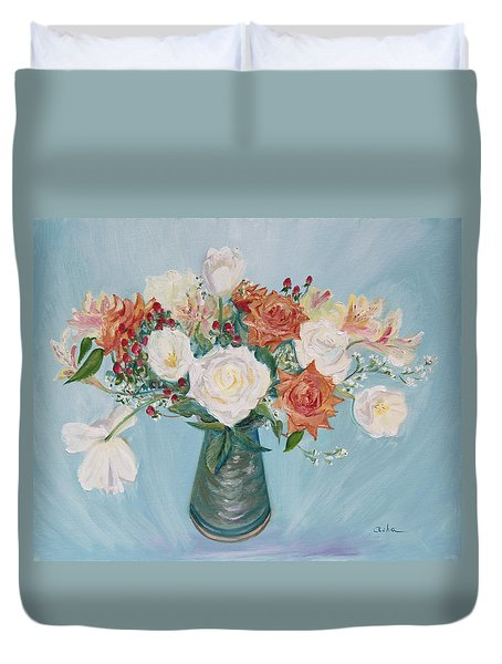 Love Bouquet In White And Orange Duvet Cover