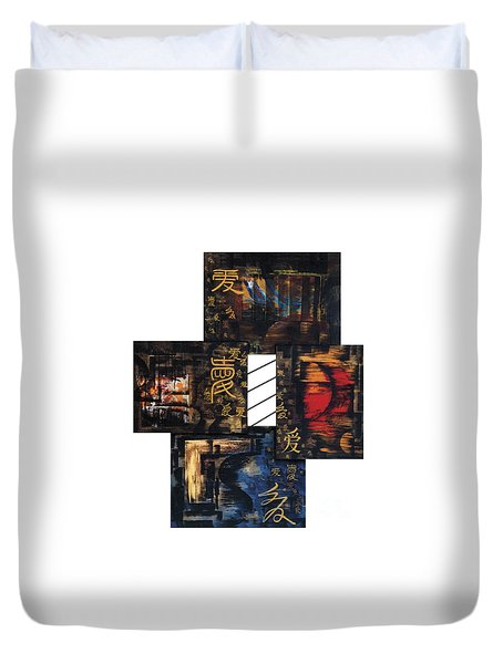 Duvet Cover featuring the painting Love Four Seasons by Fei A