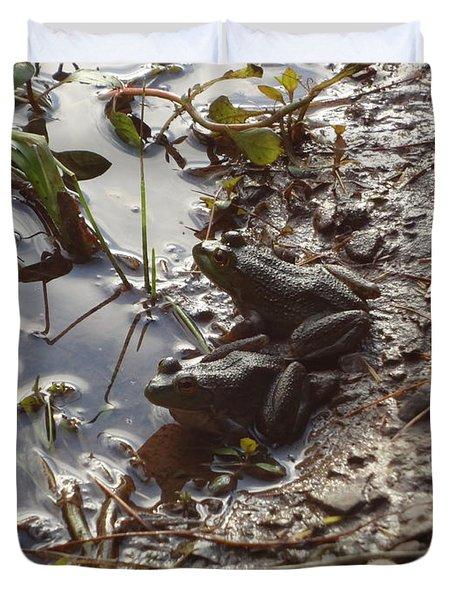 Love Frogs Duvet Cover by Michael Porchik