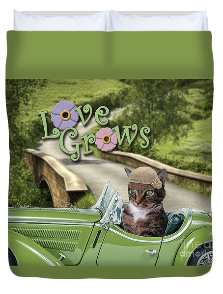 Duvet Cover featuring the digital art Love Grows by Kathy Tarochione