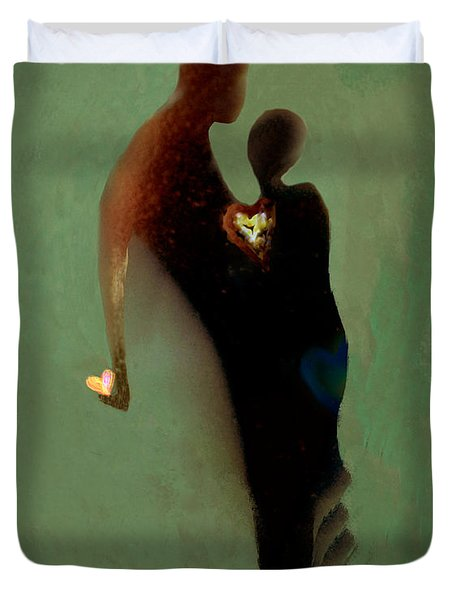 Duvet Cover featuring the digital art Love by Haleh Mahbod