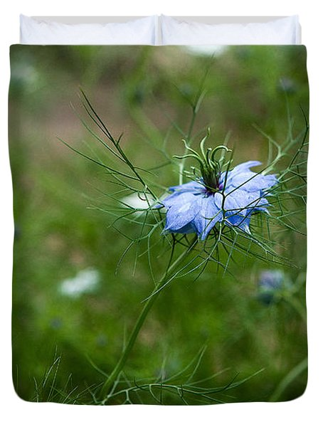 Duvet Cover featuring the photograph Love In A Mist by Liz  Alderdice