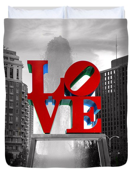 Love Is Always Black And White Square Duvet Cover