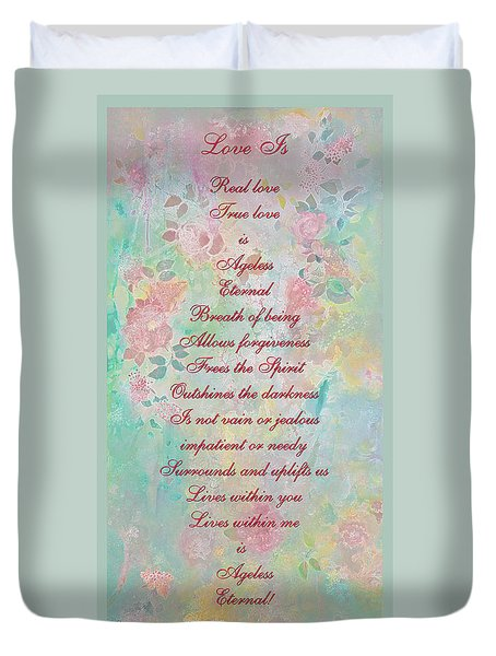 Love Is...2 - Original Art And Poetry - Image And Text Duvet Cover