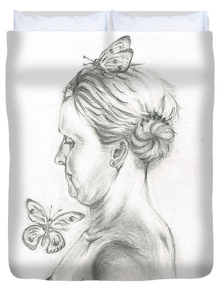 Duvet Cover featuring the drawing Loves- Her Butterflies by Teresa White