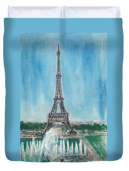 Love Of The Eiffel Duvet Cover by Mary Armstrong