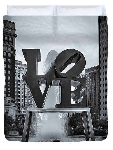 Duvet Cover featuring the photograph Love Park Bw by Susan Candelario
