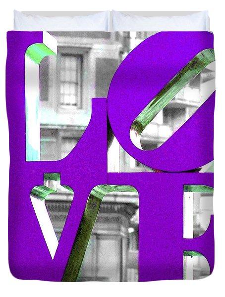 Love Philadelphia Purple Duvet Cover