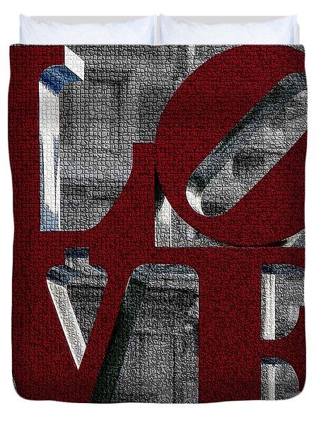 Love Philadelphia Red Mosaic Duvet Cover