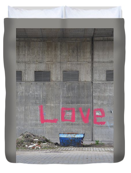Love - Pink Painting On Grey Wall Duvet Cover