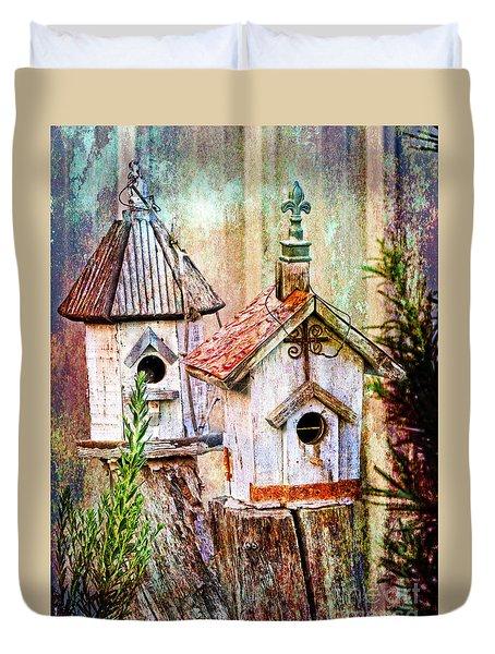 Love Thy Neighbor - Birdhouses Duvet Cover