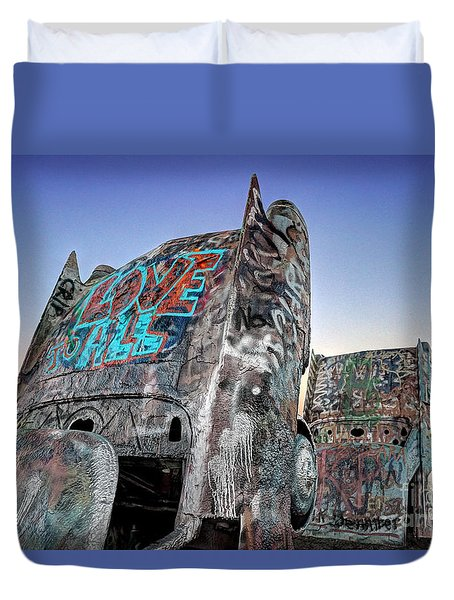 Love To All Cadillac Ranch Duvet Cover