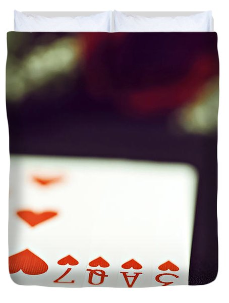 Duvet Cover featuring the photograph Love Trick by Trish Mistric