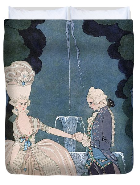 Love Under The Fountain Duvet Cover by Georges Barbier