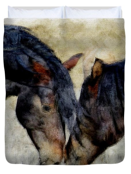 Duvet Cover featuring the painting Love Will Keep Us Together - Painting by Ericamaxine Price