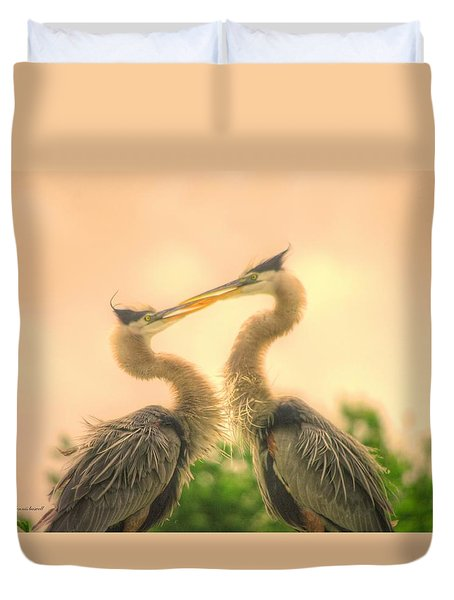 Duvet Cover featuring the photograph Lovebirds  by Dennis Baswell